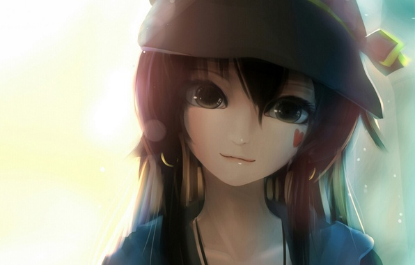 Картинка девушка, лицо, улыбка, шляпа, аниме, арт, сердечко, sen ya
