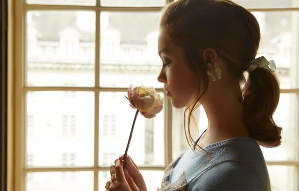 Картинка девушка, роза, актриса, окно, прическа, Софи Куксон, Sophie Cookson, Wylde, Nicole Nodland