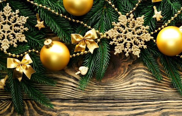 Картинка шарики, снежинки, ветки, шары, игрушки, ель, Новый Год, Рождество, звёздочки, Christmas, золотые, New Year, елочные, …