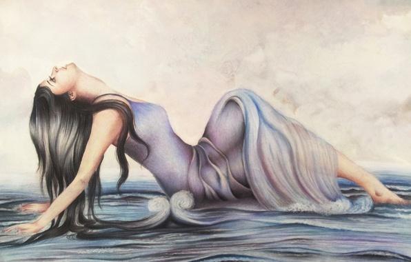 Картинка море, волны, девушка, лицо, поза, руки, платье, профиль, живопись, длинные волосы