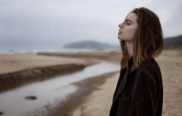 Картинка пляж, задумчивость, Девушка, драма, Aleksandra Ziomka