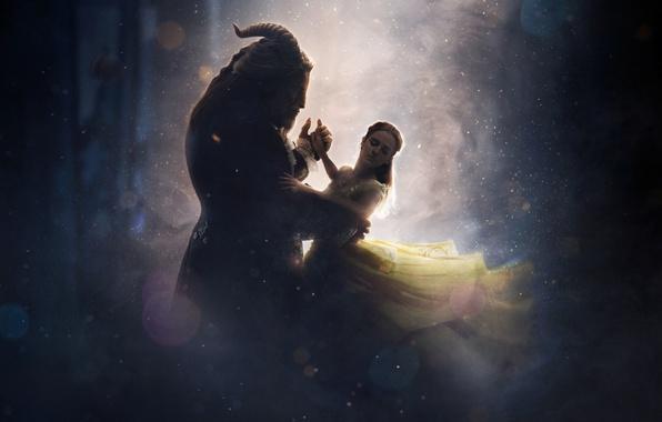 Картинка cinema, girl, love, fantasy, Disney, Emma Watson, magic, horns, monster, dress, woman, yellow, blue, lion, …