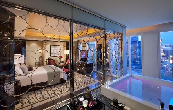Картинка кровать, ванна, отель, Лас Вегас, спальня, Las Vegas, hotel, interior, кресла.
