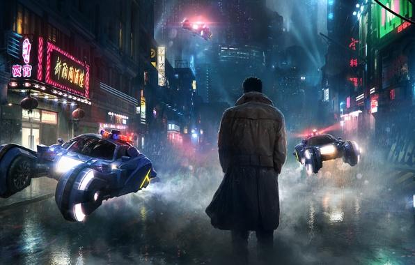 Картинка фантастика, дождь, фильм, улица, человек, art, dystopia, будущие, transport, Blade Runner, Бегущий по лезвию