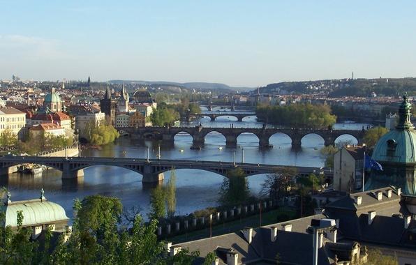 Картинка город, вид, Прага, Чехия, мосты, красивый, Praga, через, панораманый, Влтаву., Czech Republic, реку