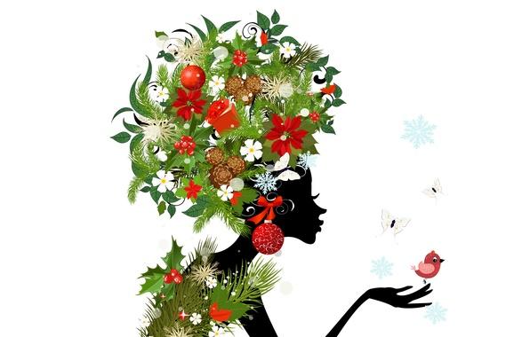 Картинка девушка, бабочки, цветы, птицы, абстракция, girl, шишки, flowers, birds, abstraction, butterflies, buds