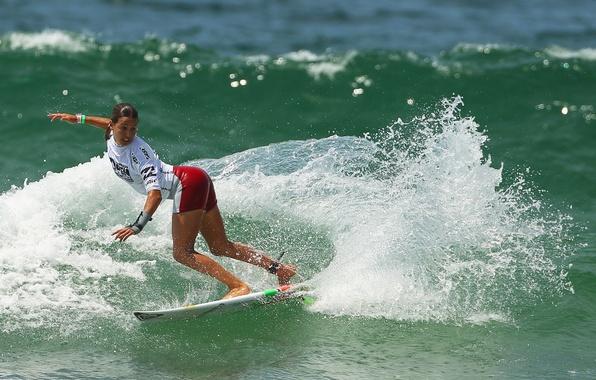 Картинка море, девушка, спорт, волна, доска