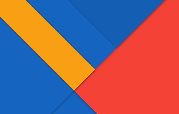 Android 5.0 Lollipop Stock Wallpapers: Обои линии, синий, Android, Lollipop, красный.желтый