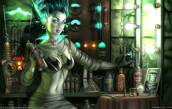 Картинка грудь, зеркало, электричество, Франкенштейн, лампочки