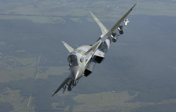 Картинка полет, истребитель, местность, вираж, ВВС России, многофункциональный, МиГ-29СМТ, MiG-29SМТ, поколения 4+