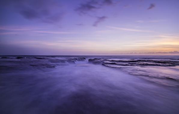 Картинка море, небо, закат, берег, вечер, Австралия, залив, лагуна, сиреневое