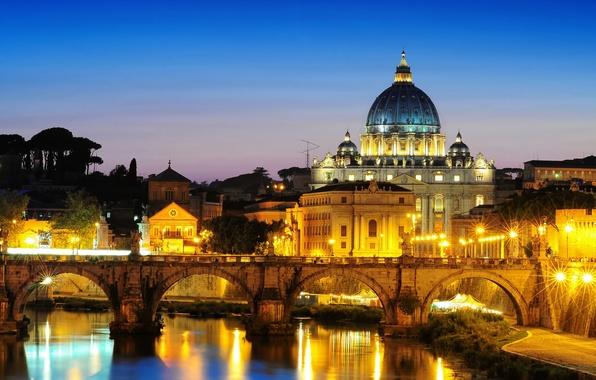 Картинка город, вечер, освещение, Рим, Italy, Rome, Ватикан, собор Святого Петра, St. Peter's Basilica, St. Angelo …