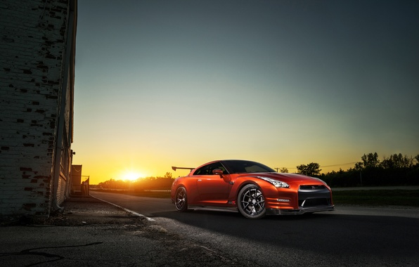 Картинка GTR, Orange, Nissan, Front, Sun, AMS, Performance, Widebody