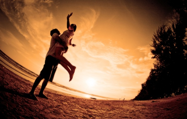 Картинка море, пляж, любовь, закат, романтика, пара, love, beach, Sunset, embrace