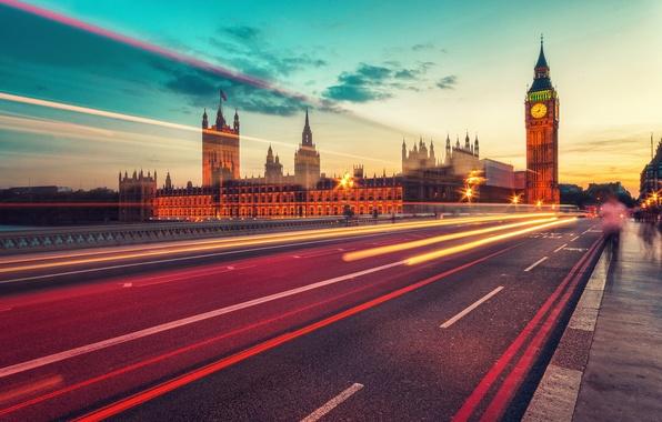 Картинка дорога, свет, ночь, город, огни, Англия, Лондон, вечер, выдержка, Парламент, Великобритания, Биг-Бен, Вестминстер, «башня Елизаветы»