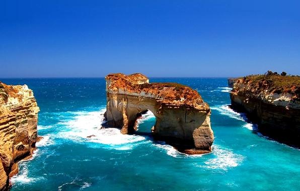 Картинка море, небо, океан, скалы, арка
