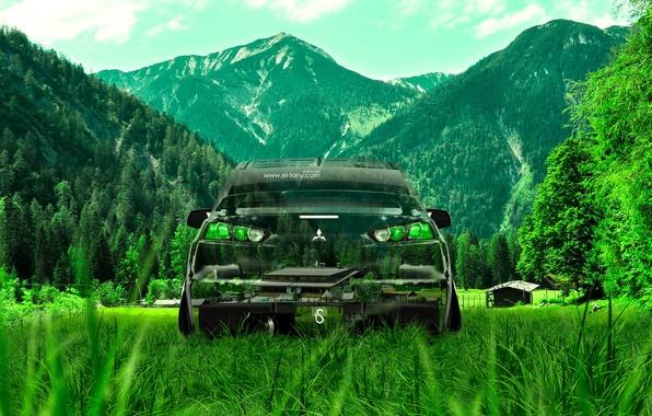 Картинка Природа, Горы, Трава, Стиль, Обои, Mitsubishi, Lancer, Nature, Evolution, Grass, Photoshop, Фотошоп, Green, Style, Лансер, …