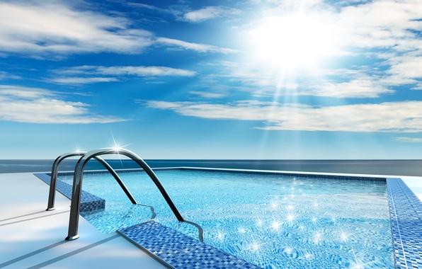 Картинка лето, вода, солнце, отдых, бассейн, купание
