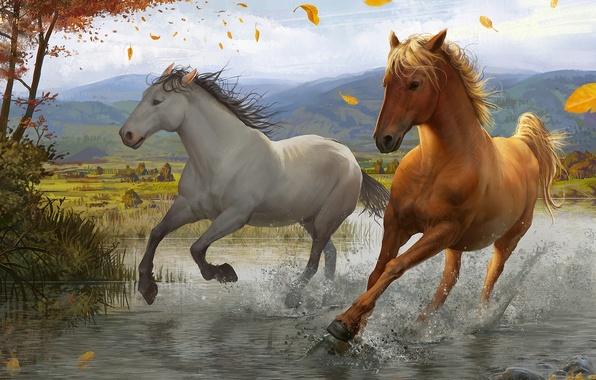Картинка листья, брызги, река, дерево, ветер, лошади, арт, бег