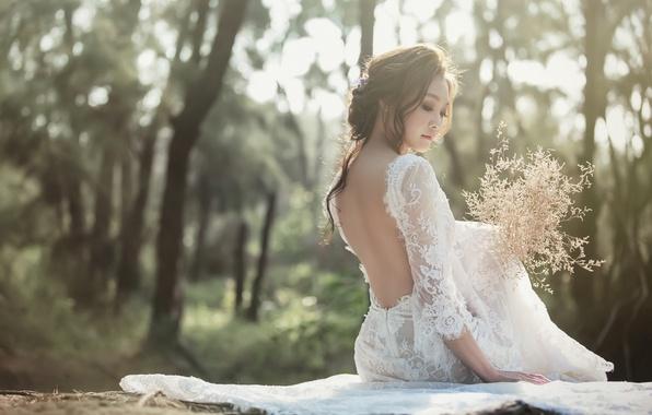Картинка девушка, спина, букет, платье, азиатка, невеста