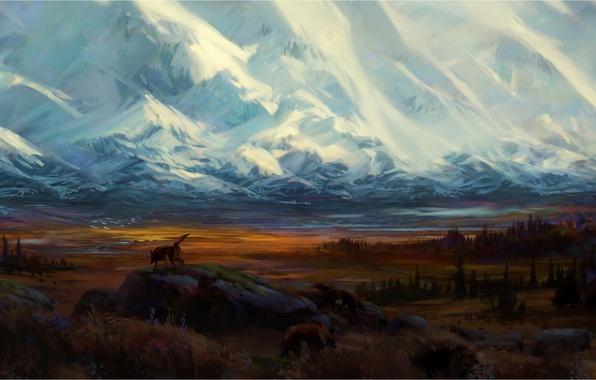 Картинка лес, снег, горы, птицы, камни, волк, долина, зверь, нарисованный пейзаж