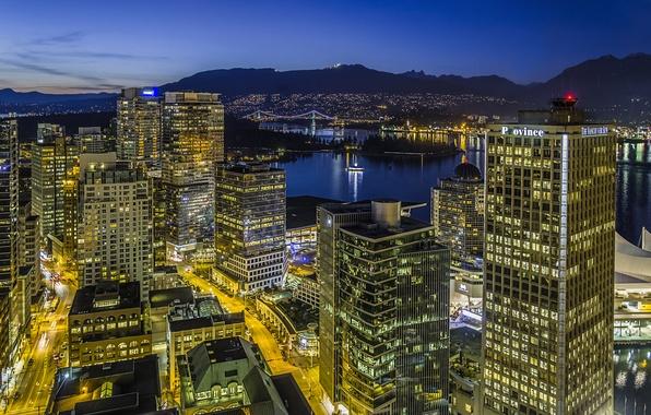 Картинка свет, ночь, город, огни, здания, дома, небоскребы, Канада, Ванкувер, Canada, высотные, Vancouver