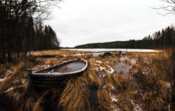 Картинка природа, озеро, лодка