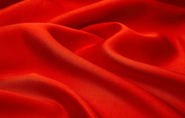 Картинка волны, фон, текстура, ткань, красная, складки
