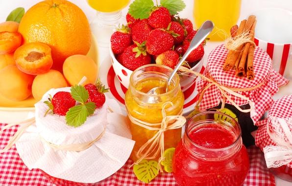 Картинка апельсин, клубника, банки, корица, абрикос, джем, orange, strawberry, варенье, jam, cinnamon, apricot