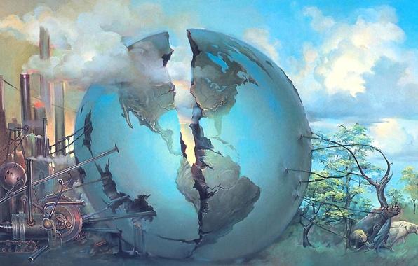 Картинка животные, земной шар, трещина, Сюрреализм, John Pitre