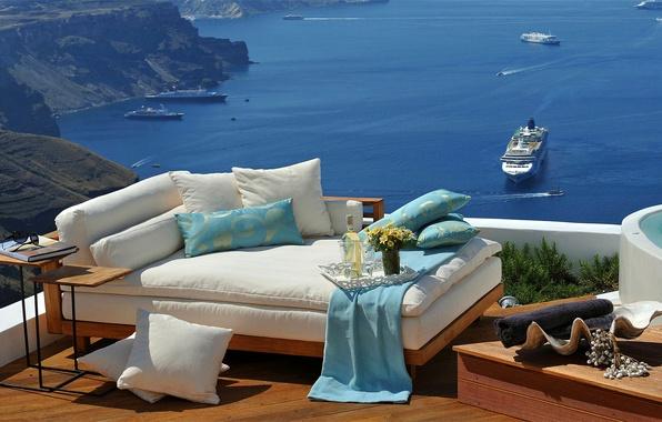 Картинка море, диван, отдых, корабль, Греция, лайнер