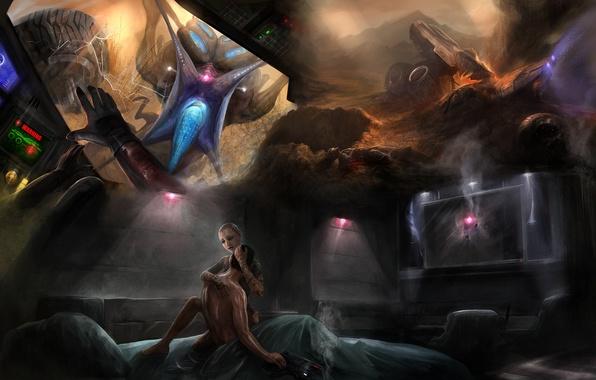 Картинка сны, пистолет, кровать, mass effect 2, шепард, каюта, кошмары