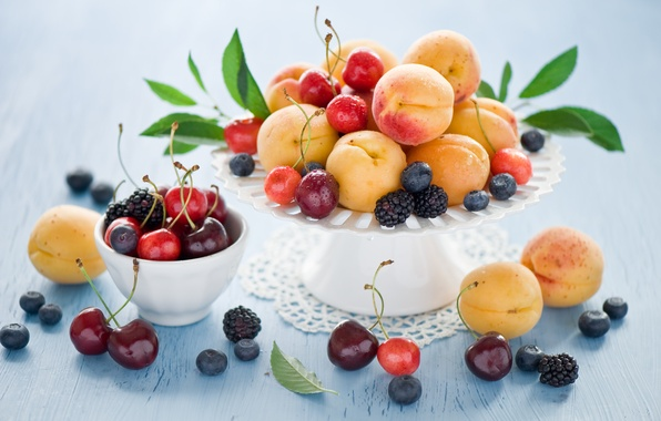 Картинка лето, вишня, ягоды, черника, фрукты, натюрморт, черешня, ежевика, абрикосы, Anna Verdina