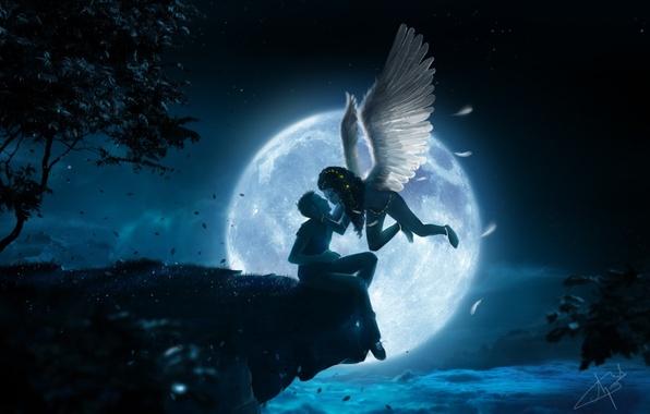 Картинка листья, девушка, облака, ночь, обрыв, дерево, луна, высота, крылья, поцелуй, ангел, арт, парень