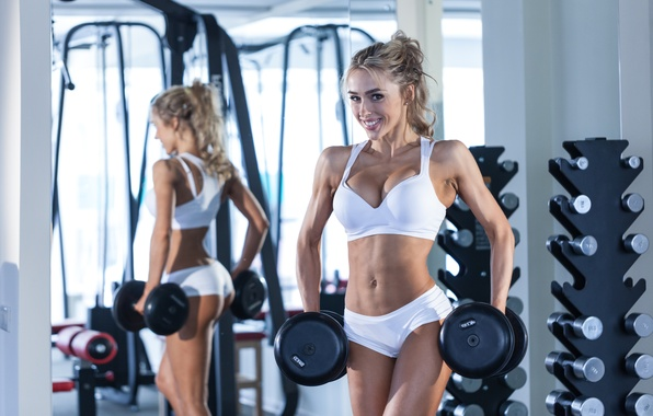 Картинка blonde, pose, workout, fitness, gym, small, dumbbell