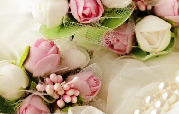 Картинка цветы, розы, букет, нежные, white, бутоны, pink, bouquet, roses, wedding, bud