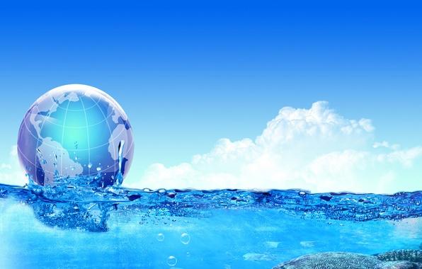 Картинка море, вода, облака, коллаж, шар, Земля