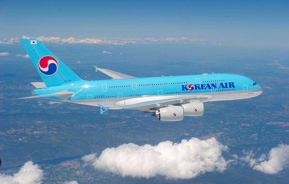 Картинка Небо, Облака, Полёт, Flight, Clouds, Sky, A380, Самолёт, Airbus, Aircraft, Korean Air