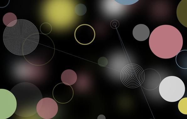 Картинка круги, абстракция, блики, фон, розовый, голубой, черный
