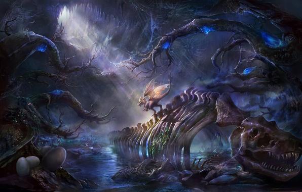 Картинка вода, яйца, динозавр, растения, арт, скелет, пещера, rongrong wang, rong rong