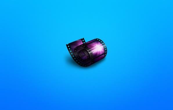 Картинка кино, минимализм, cinema, пленка, кинопленка, синеватый фон, синема