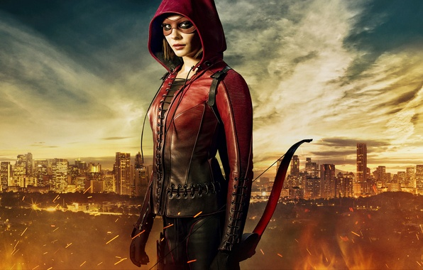 Картинка Girl, City, Red, Clouds, Sky, Fire, Hero, Beautiful, Flame, the, Wallpaper, Super, Year, EXCLUSIVE, Weapons, …