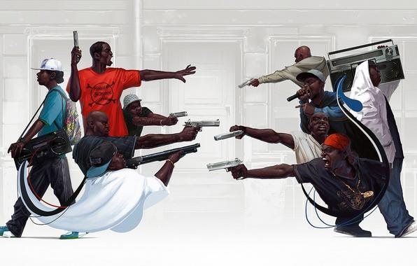 Картинка пистолет, оружие, рэп, gangsta, rap, hip hop, boombox, Michal Lisowski