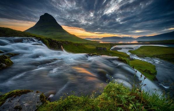 Картинка лето, река, рассвет, гора, поток, утро, Исландия, Kirkjufell
