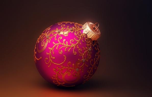 Фото обои новогодняя, игрушка, Новый Год, сиреневый, елочная, New Year, Christmas, шар, узоры, золотые, Рождество