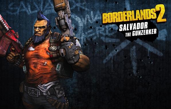 Картинка оружие, злость, мужик, пушка, борода, качок, RPG, 2K Games, Borderlands 2, Сальвадор, Gunzerker, Gearbox Software, ...