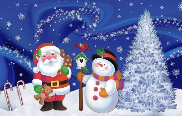Картинка снег, снежинки, настроение, праздник, новый год, арт, снеговик, дед мороз, ёлочка
