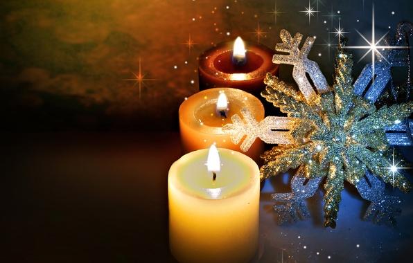 Картинка зима, свет, снежинки, блики, огонь, праздник, вечер, свечи