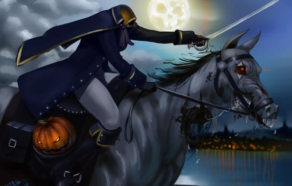 Картинка ночь, луна, лошадь, тыква, всадник, головы, хэллоуин, без, мертвец