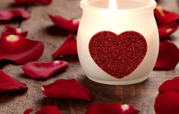 Картинка фото, Сердце, Свеча, Лепестки, Праздник, День святого Валентина